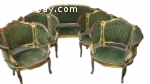 19th century French louis XVI, Corbeille Settee sofa and 4 c