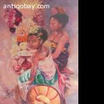 Oil painting Indie Indonesia, Bali women