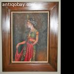Oil painting Indie Javanese woman Indonesia