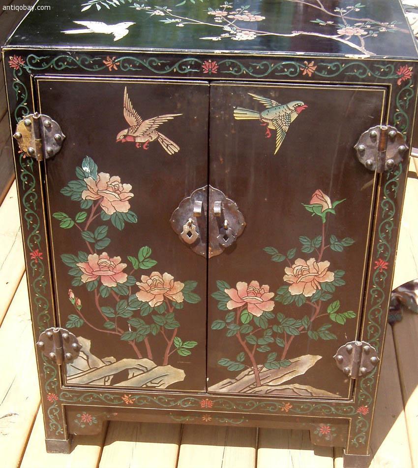 Vintage Oriental Cabinet Hand Carved